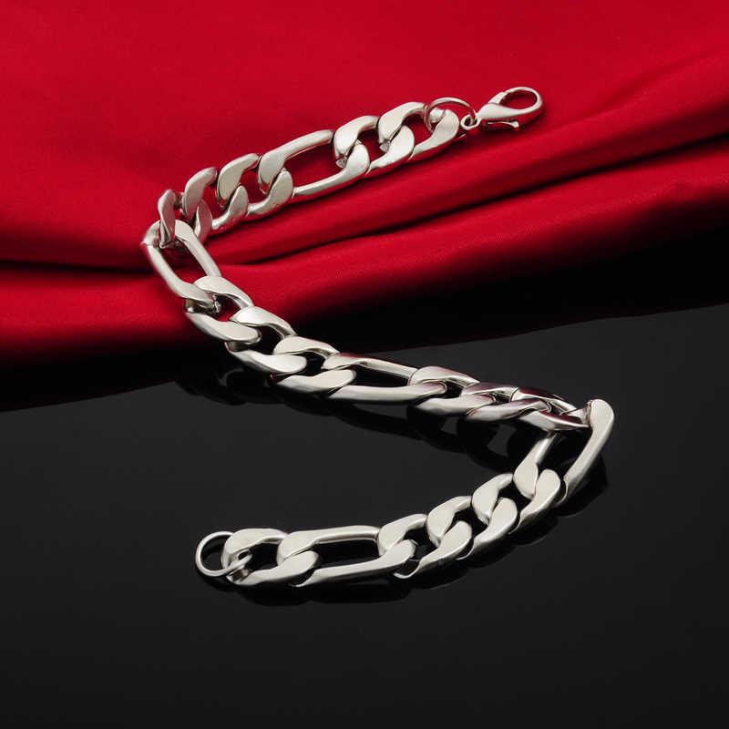 Europejski i amerykański styl moda srebrny Tone męska bransoletka Link Chain fajne Hiphop pulseira masculina