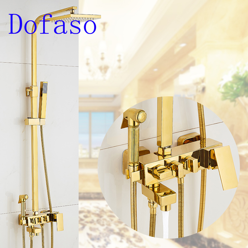 Dofaso high quality all copper gold shower faucet bathroom antique square golden sets mixters
