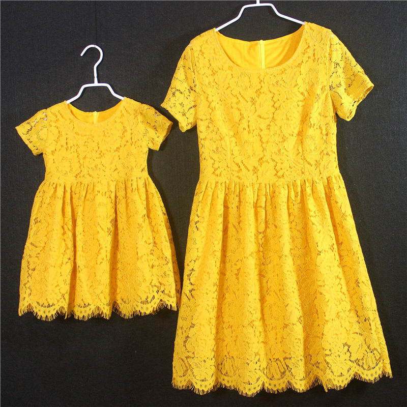 European American style short Sleeves pink yellow kids girl party skirts children holiday dress mother and daughter lace dresses european american style short sleeves women skirts kids girls holiday party dress children clothes mother daughter lace dresses