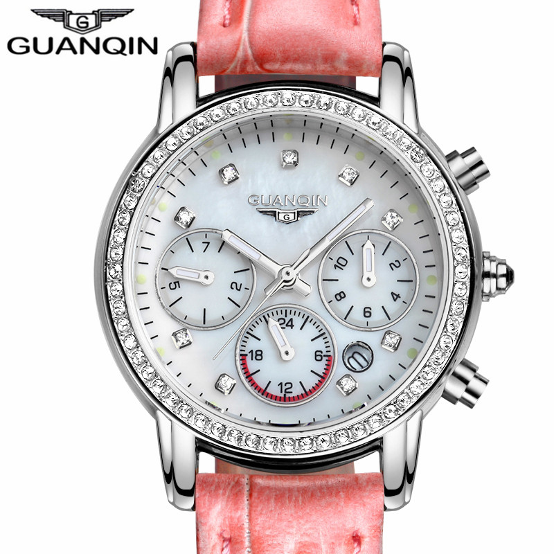 2016 GUANQIN Watches Women Luxury Brand Luminous Date Clock Ladies Fashion Sapphire Leather Strap Quartz Watch relogio feminino watches women luxury brand guanqin genuine leather strap waterproof mechanical wrist watch for ladies relogio feminino