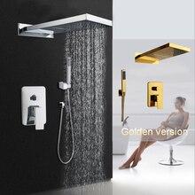 Хромированная позолоченная душевая головка для ванной комнаты, 2 функции, душевой смеситель для ванной комнаты, Твердый латунный дождевой водопад, душевой набор