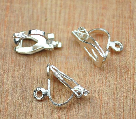 10 Silver Plated Clip On Screw Back Earring Findings with Open Loop /& Flat Pad