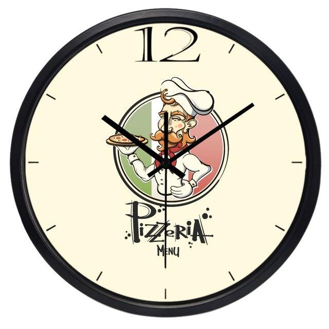 US $28.5 25% di SCONTO|Pizza Shop Negozio Mensa Grande Chef di Cucina  Orologio Da Parete in Pizza Shop Negozio Mensa Grande Chef di Cucina  Orologio Da ...