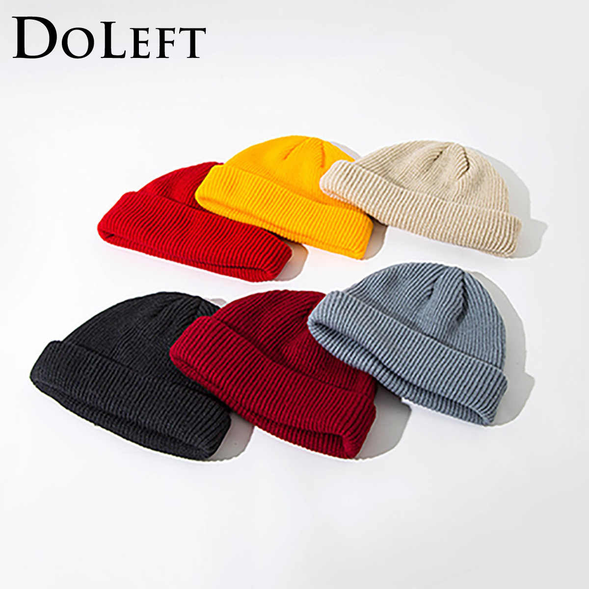 DOLEFT Winter Ribbed Knitted Cuffed Short Melon Caps Unisex Solid Color Skull Cap Retro Beanie Hat Ski Winter Women Knit Hat