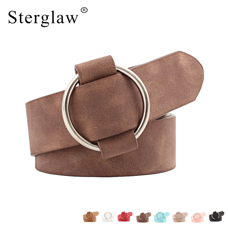 New Fashion womens designer round casual ladies belts for jeans Modeling belts without buckles leather belt cinturon mujer N002