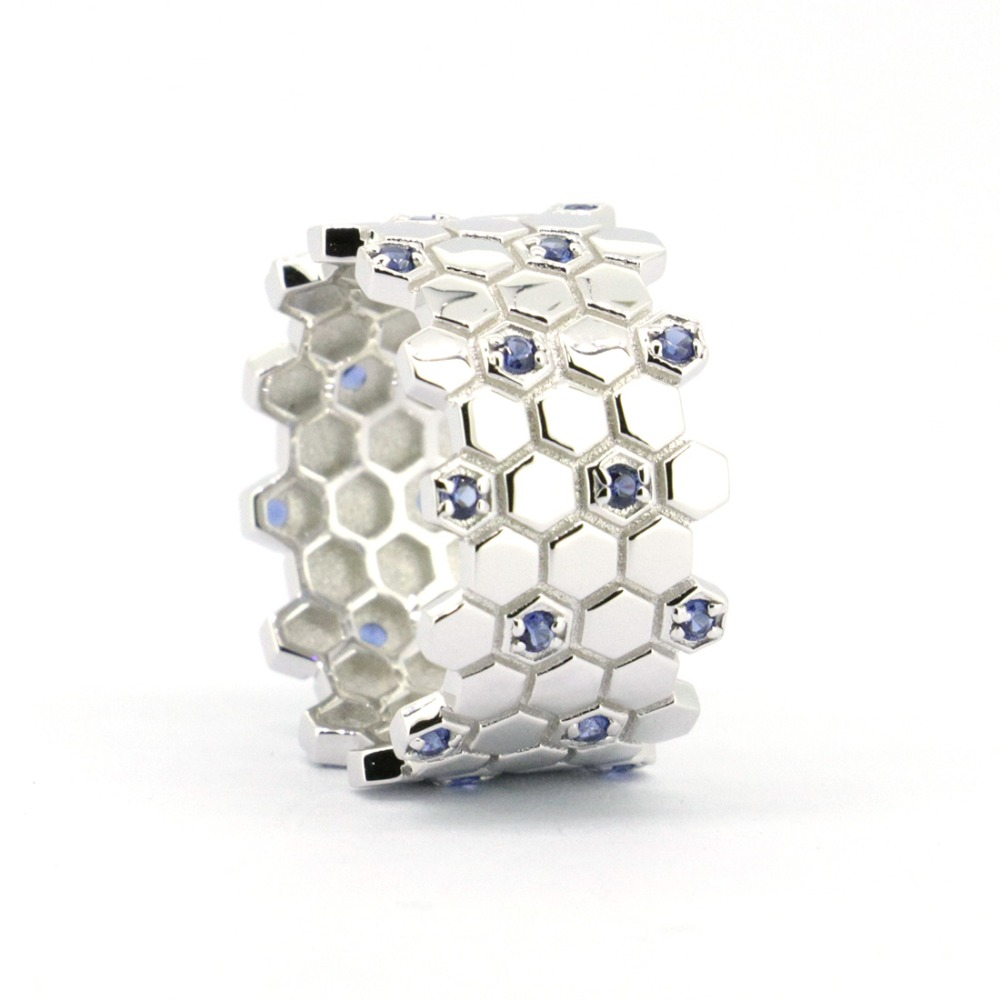 Wellmade Solid Sterling Silver&CZ Honeycomb Ring