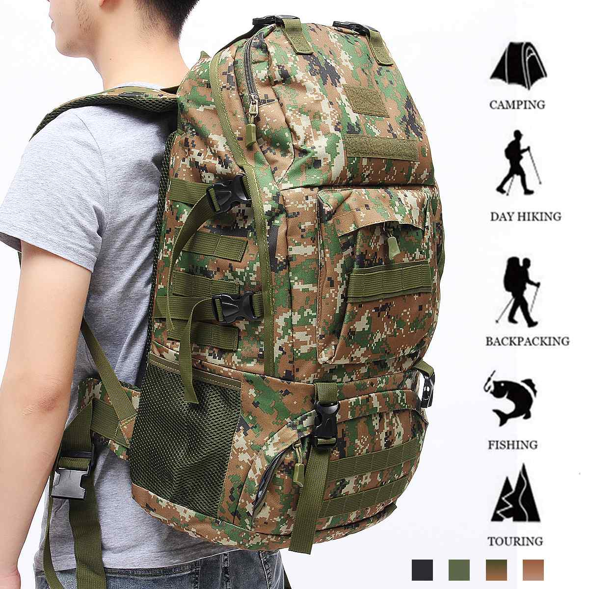 60L Large Capacity Outdoor Mountaineering Camping Backpack Waterproof Camouflage Travel  Daypack