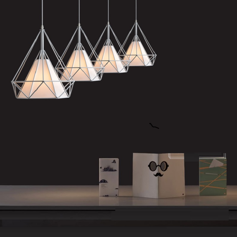 Modern Pendant Lights Iron Minimalist Retro Light Pyramid Hanging Lamp Metal Cage with E27 LED Bulb 25cm
