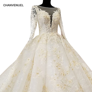 LS68110 big puffy skirt ball gown champagne wedding dress o neck tulle long sleeves 3d flowers dress for wedding china online Платье