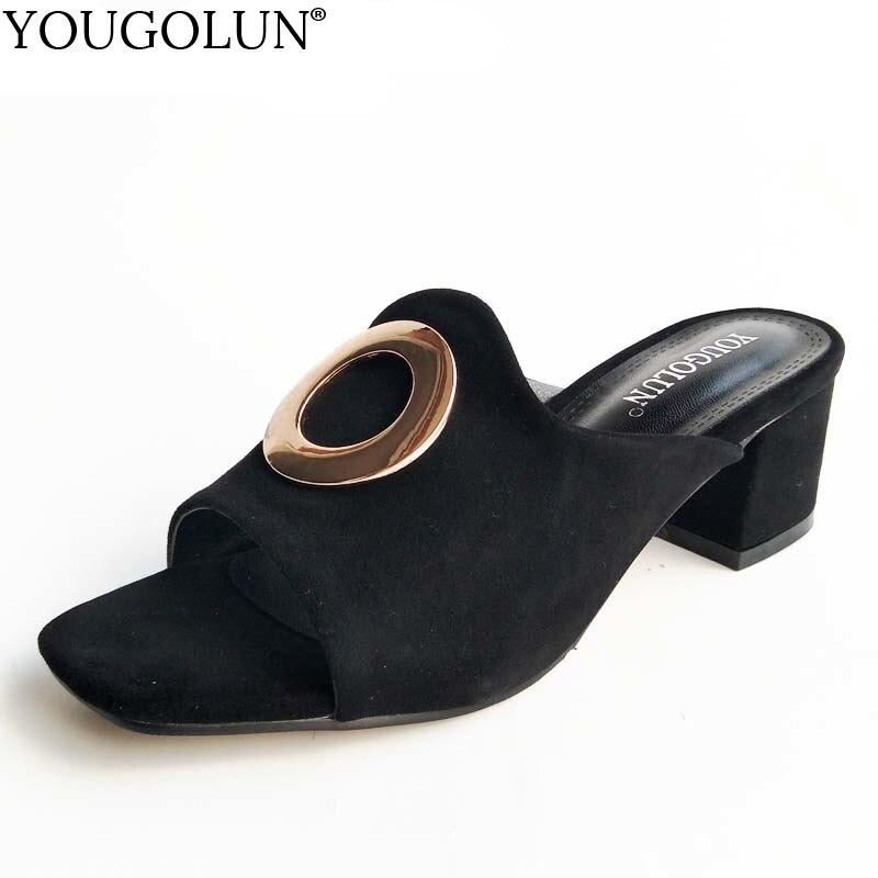 YOUGOLUN женщин тапочки лета натуральной кожи замши коровы Черная женщина среднего толстые каблуки сандалии свободного покроя открытым носком туфли #а-071