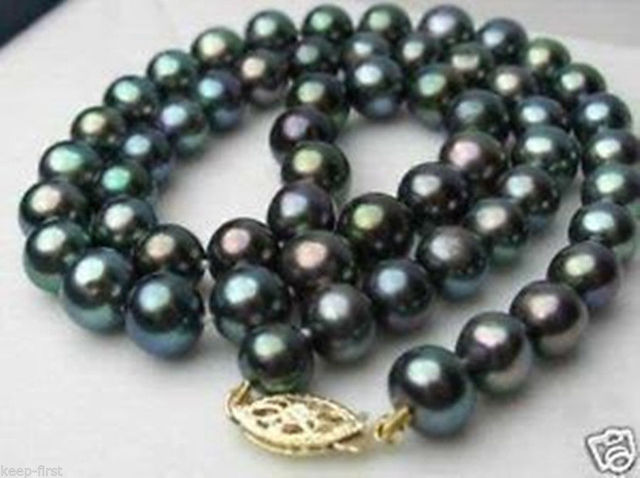 "FREE SHIPPING>>>@@ > Hot sale new Style >>>>>Charming!8-9mm Black Tahitian Pearl Necklace 18""AA"