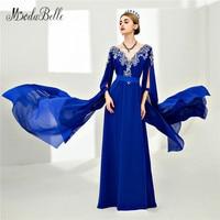 Modabelle Dubai Frauen Abendkleid Royal Blue Lace Perlen Avondjurken Saudi-arabien Prom Kleider Langarm Abendkleid 2018