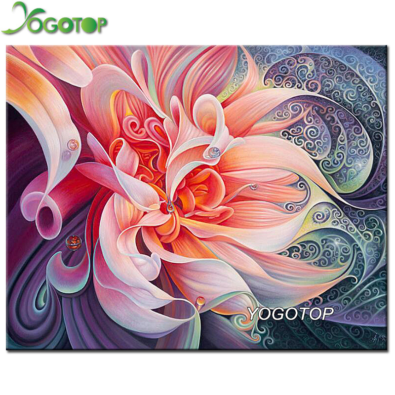 YOGOTOP DIY 5D Diamond Mosaic Pink flower 5D Full Diamond ...