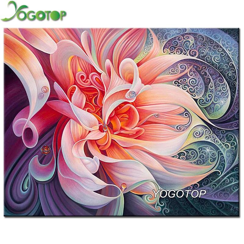 YOGOTOP DIY 5D Diamond Mosaic Pink Flower 5D Full Diamond Painting Cross Stitch Kits Square Diamonds
