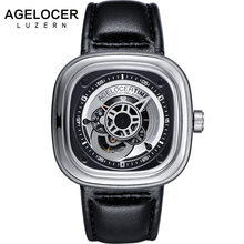 Swiss Mechanical Men s Watches AGELOCER Brand Men Sports Watch aaa Leather Wristwatch 50M Diver Watch