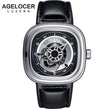 Marca suíça de Relógios Dos Homens Mecânicos AGELOCER Homens Sports Watch relógio de Pulso De Couro aaa 50 m Diver Assista Relogio masculino