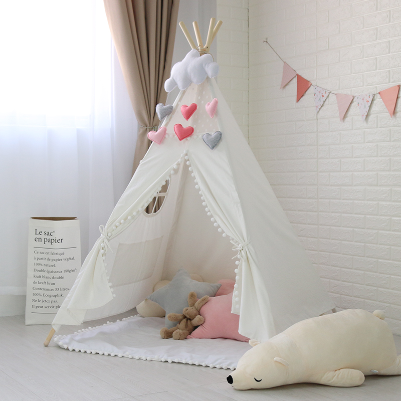 White Pom Poms Kinder Tipi Tent With Roll-up window Childrens Teepees TippiWhite Pom Poms Kinder Tipi Tent With Roll-up window Childrens Teepees Tippi