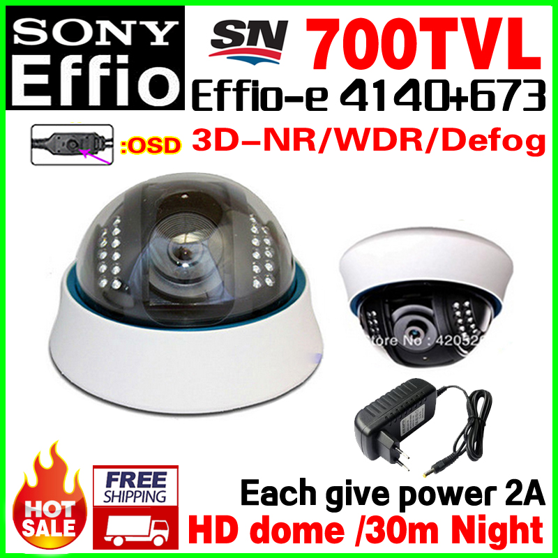 Give 2A Power!Sony CCD Effio Real 700TVL Analog 960H Hd Cctv Dome Camera Infrared IR 22Led Night Vision 30m OSD Meun Color Video