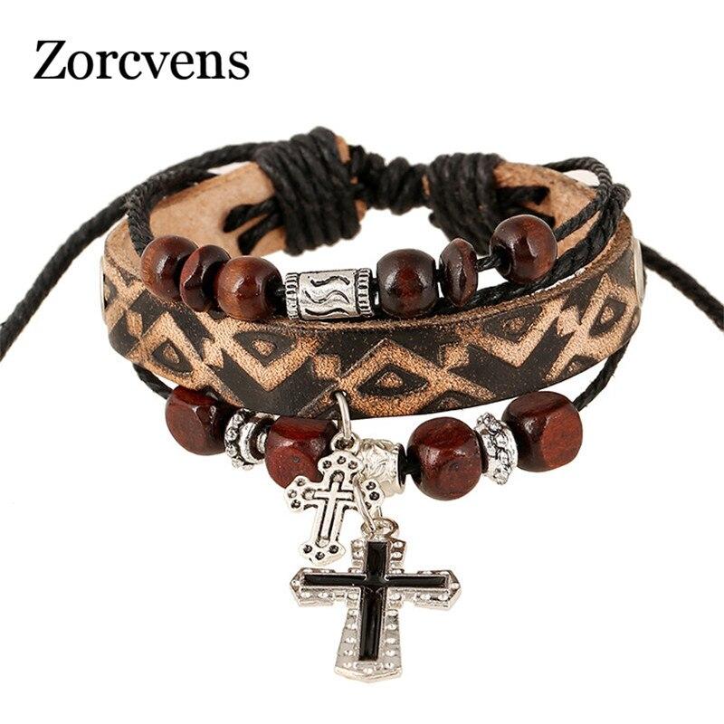 ZORCVENS Punk Vintage Cross Leather Bracelet Men Multilayer bead Bracelets for Men gold earrings for women