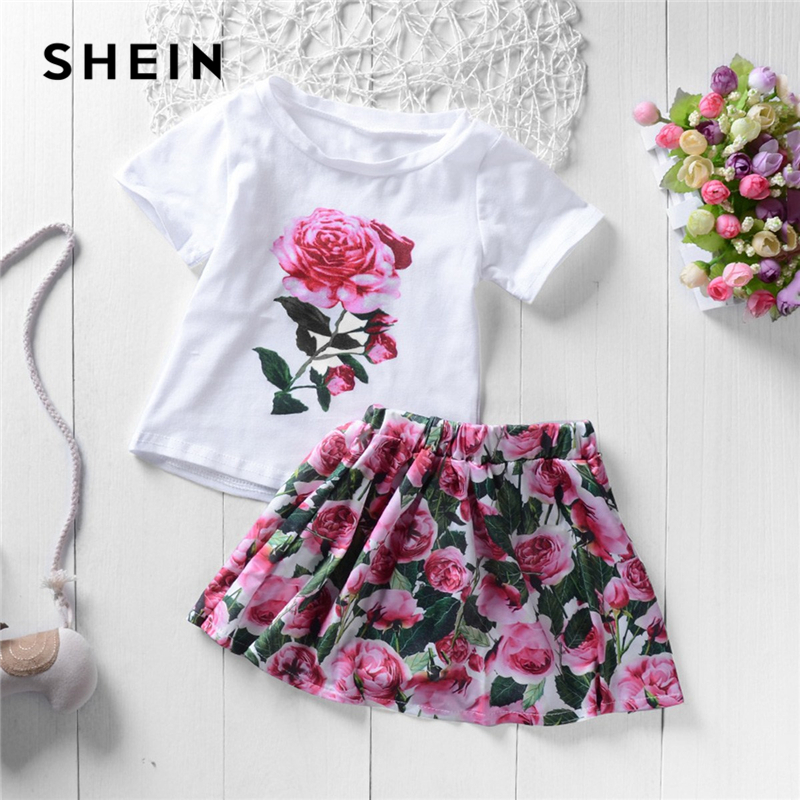 SHEIN Kiddie Rose Print Elegant T-Shirt With Pleated Skirt Two Piece Girls Clothes Set 2019 Summer Short Sleeve Casual Kids Sets 2017 new spring lace princess sleeve shirt skirt dress pleated skirt suit casual cake
