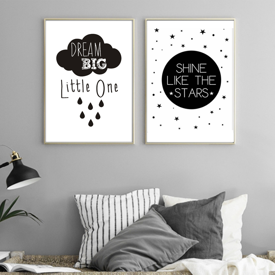 New Dream Big Little One Good Night platno slikarstvo Poster Print Nursery Wall Slike Art Otroška soba Home Decoration Neokvirjen