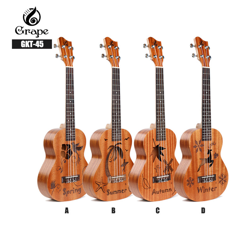 все цены на 26 Inch 4 Strings Ukulele Spring Summer Autumn And Winter Four Models Strings Hawaiian Guitar Musical Instruments For Beginners онлайн