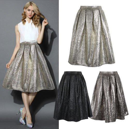 Aliexpress.com : Buy Luxury Women Pleuche Midi Skirt New Fashion ...