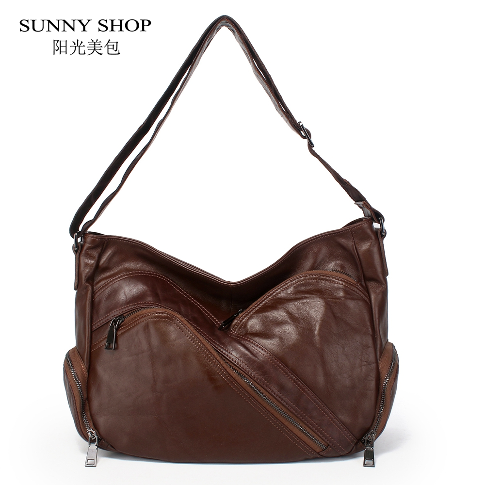 все цены на SUNNY SHOP 100% Genuine Leather Luxury Handbags Women 2018 Vintage Casual Original Leather Shoulder Bags Multi Zipper Pockets