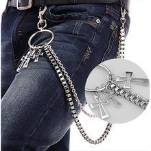 DSstyles Rock Punk Hook Trousers Pant Cross Waist Link Belt Chain Metal Wallet Silver Men Women Jewelry Pants