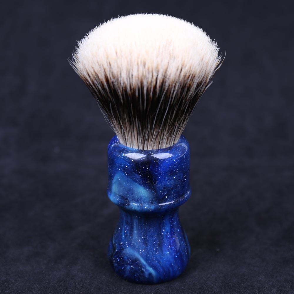 24MM Yaqi Mysterious Space Color Handle Fan Shape Two Band Badger Hair Knot Men Shaving Brushes