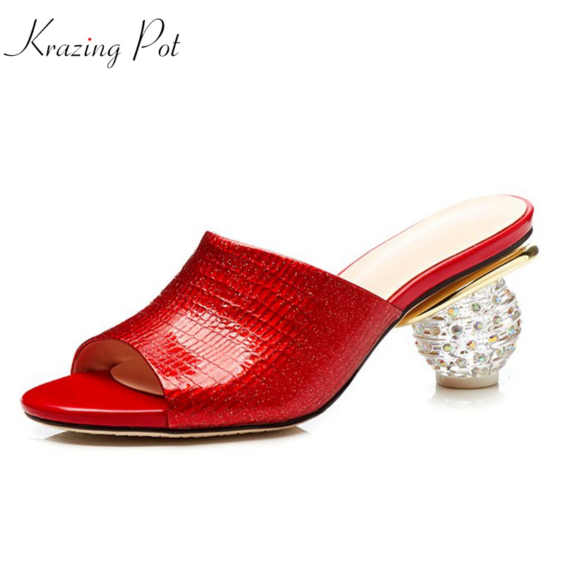 Krazing pot 2018 genuine leather fashion plus size superstar sandals women round crystal high heels gorgeous red green mules L52 high quality lace girl dresses children dress party summer princess baby girl wedding dress birthday big bow pink for 100 160