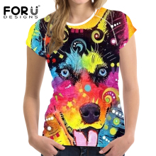 FORUDESIGNS t shirt Summer Tshirt Women Husky Smile tee shirts Femme Funny Colored Drawing Dog t-shirt Streetwear Cool Tops S M цена