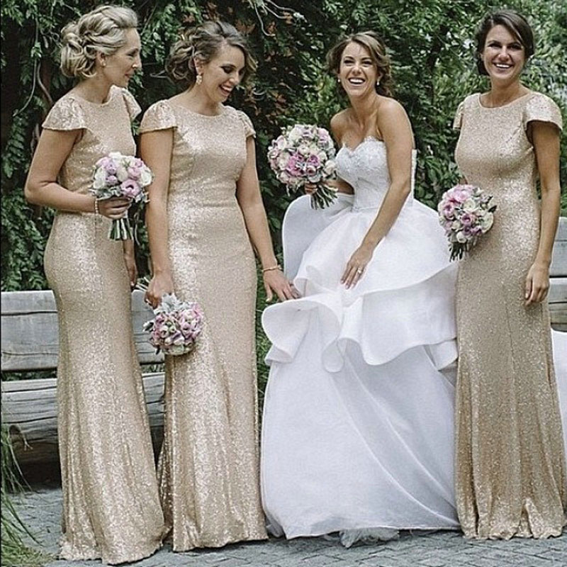 Gold Sequined Bridesmaid Dresses With Short Sleeves Mermaid