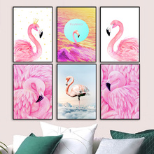 Watercolor Flamingo Nordic Posters And Prints Wall Art Canvas Painting Animal Pictures For Living Room Bedroom Home Decor