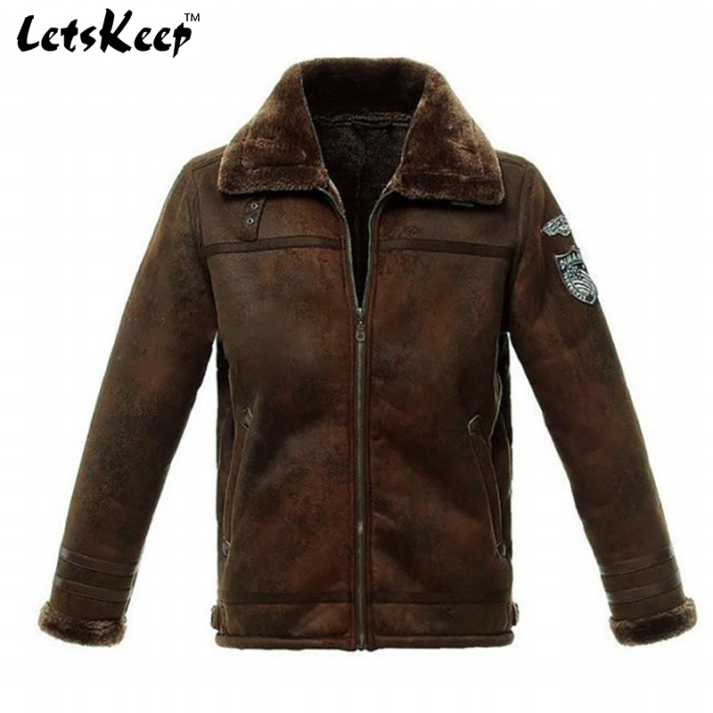 Letskeep 2017 New Mens Winter PU Leather Moto jacket air force Thicken coat Jackets Fur Collar Outerwear Men Jacket XXXL,MA186