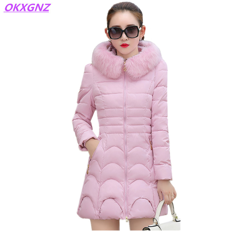OKXGNZ 2017Winter Jacket Women Cotton Feather Coat Hooded Fur Collar Elegant High Quality Costume Plus Size Warm Long Coats AH17 okxgnz winter cotton jacket coat women 2017long cotton padded costume hooded loose warm coats plus size women basic coats ah021
