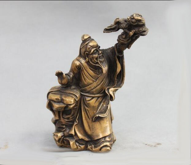 Chinese Folk Culture Bronze Copper Immortal God man catch Dragon SculptureChinese Folk Culture Bronze Copper Immortal God man catch Dragon Sculpture