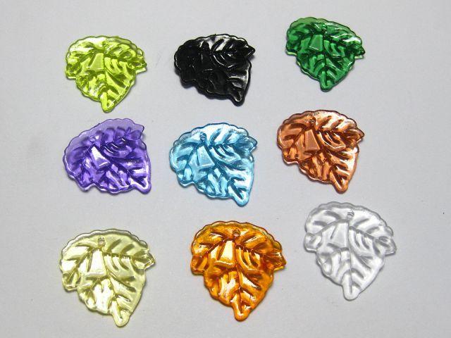 100 Blue acrylic leaf charms