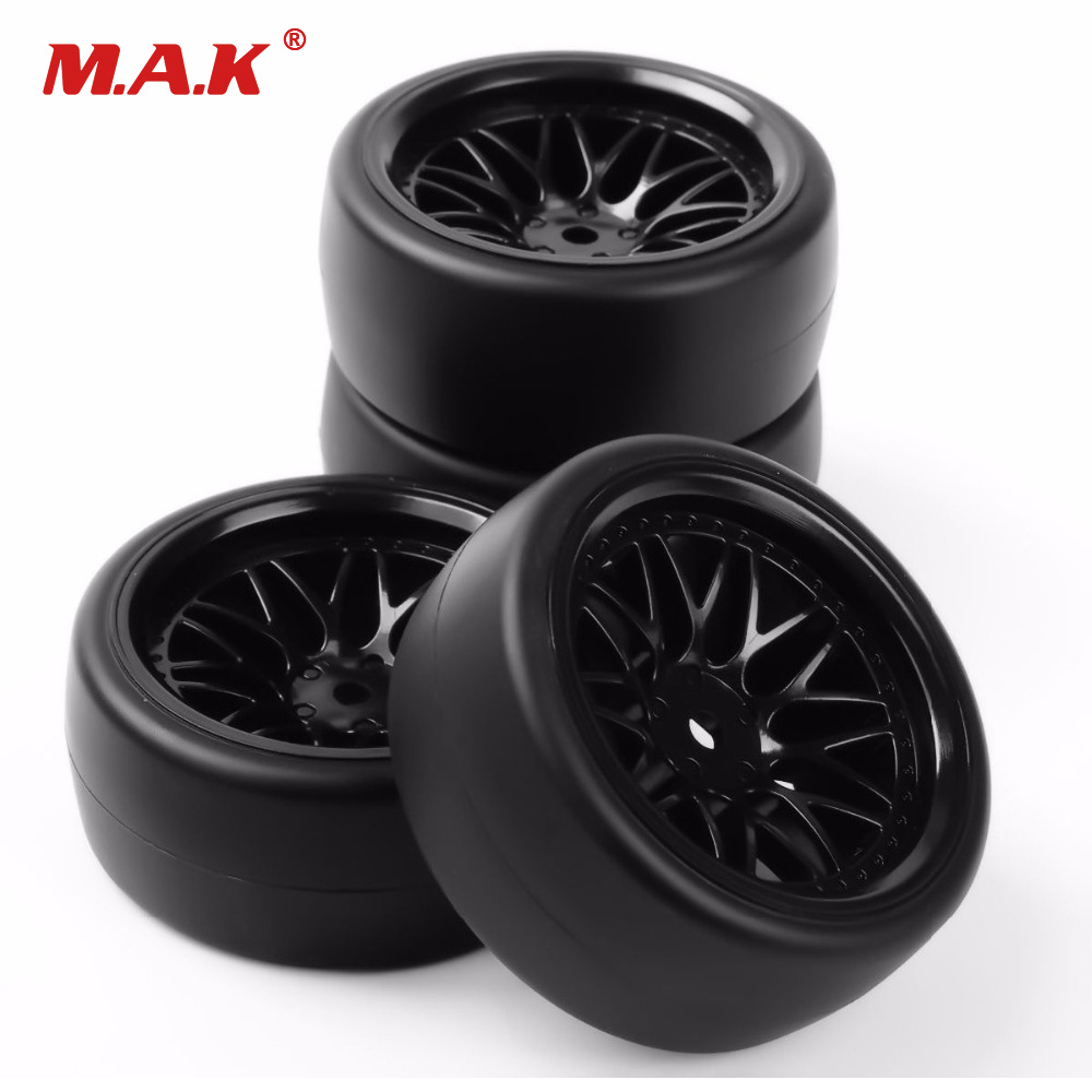 PP0477+BBNK 1/10 Scale Drift Tires Wheel Rim for HSP HPI RC 1:10 On Road Car 12mm Hex 4PCS/Set universal replacement plastic tire w wheel rim hub for 1 10 on road model cars black 4pcs