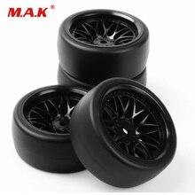 PP0477+BBNK 1/10 Scale Drift Tires Wheel Rim for HSP HPI RC 1:10 On Road Car 12mm Hex 4PCS/Set