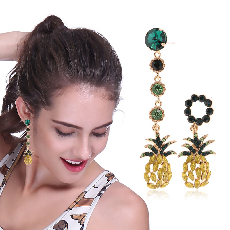 Korean Statement Fashion Jewelry Boucle D'oreille Attractive Shiny Rhinestone Pineapple Asymmetry Earrings For Women