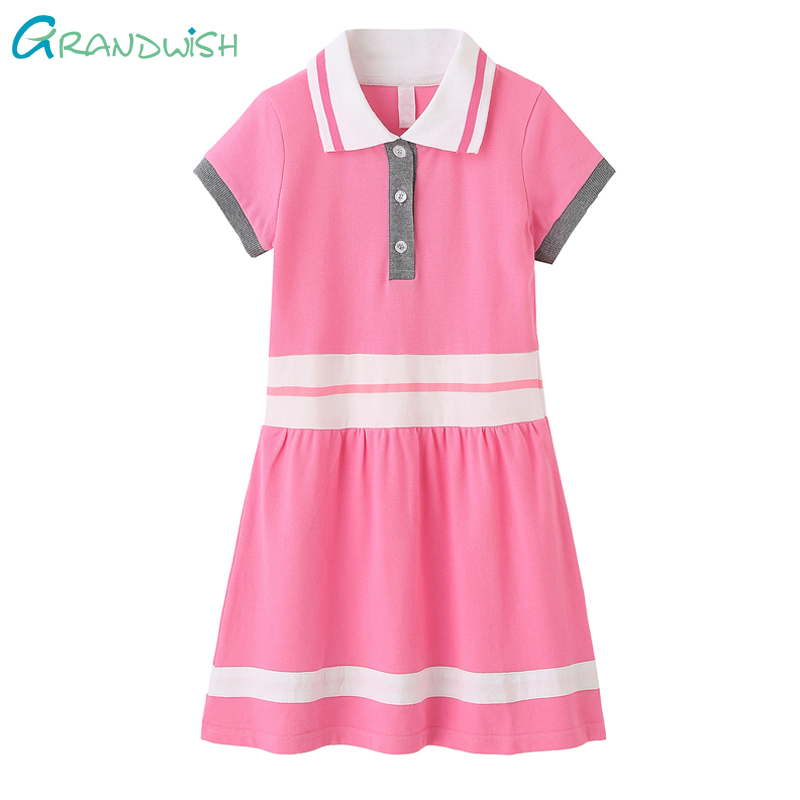 Grandwish Girl Clothes Polo Style Dresses Girl's Solid Color Buttons Long Dresses Girl Pleated Short Sleeve Dress 6T-14T ,TC250 chic spaghetti strap solid color tank top 3 4 sleeve embroidered pleated dress twinset for women
