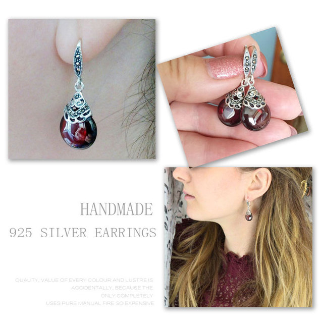 JIASHUNTAI Retro 100% 925 Sterling Silver Round Garnet Drop Earrings For Women Natural Red Gemstone Ruby Fine Jewelry Best Gifts 4