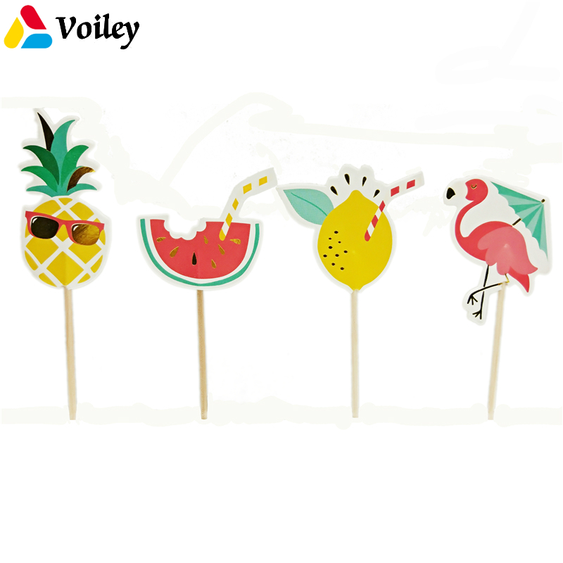 Baby Shower 24pcs/set Summer Flamingo Pineapple Watermelon Cupcake Toppers Kids Happy Birthday Theme Cake Decoration Supplies,7