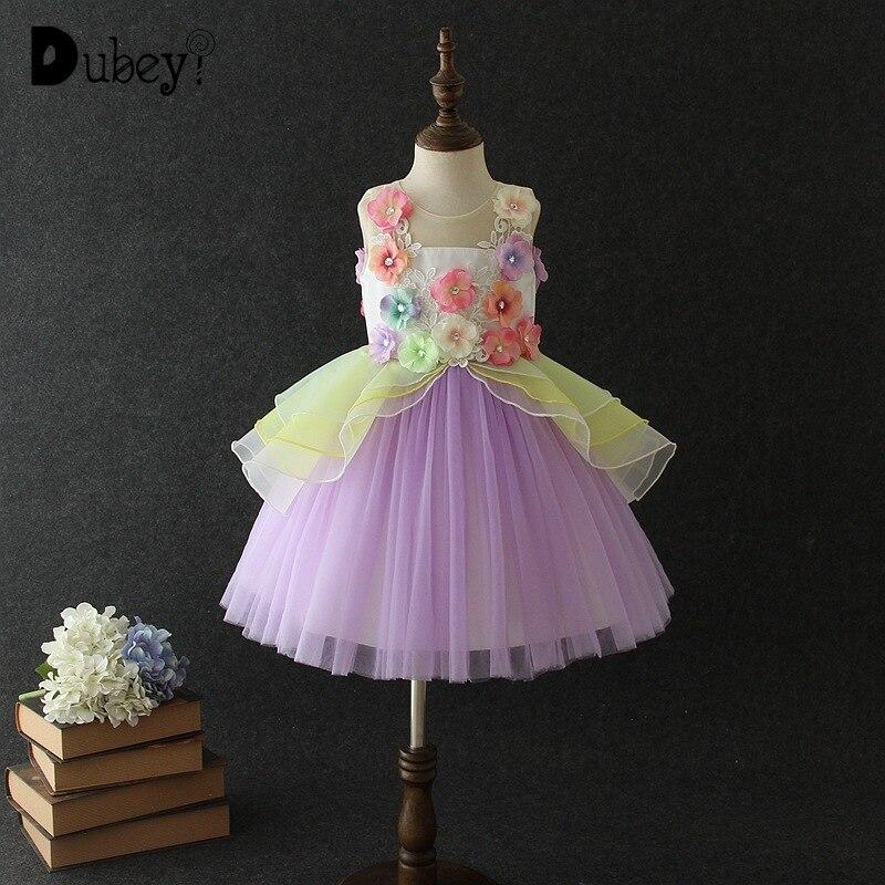 Nouveau coloré dentelle princesse Tutu robe fleur fille arc-en-ciel couleur Tulle Costumes élégant adolescent filles soirée robe de soirée