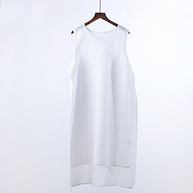 New Fashion Spring Summer Women Knit Vest Sleeveless O-Neck White Tops Front Short Back Long T-shirt  Tank Tops
