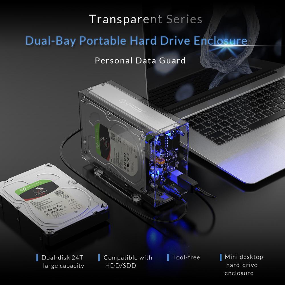 ORICO 3.5 pouces 2 baie boîtier de disque dur boîtier de disque externe Transparent SATA à USB3.0 type-b boîtier de disque dur avec adaptateur secteur 12V3A - 2