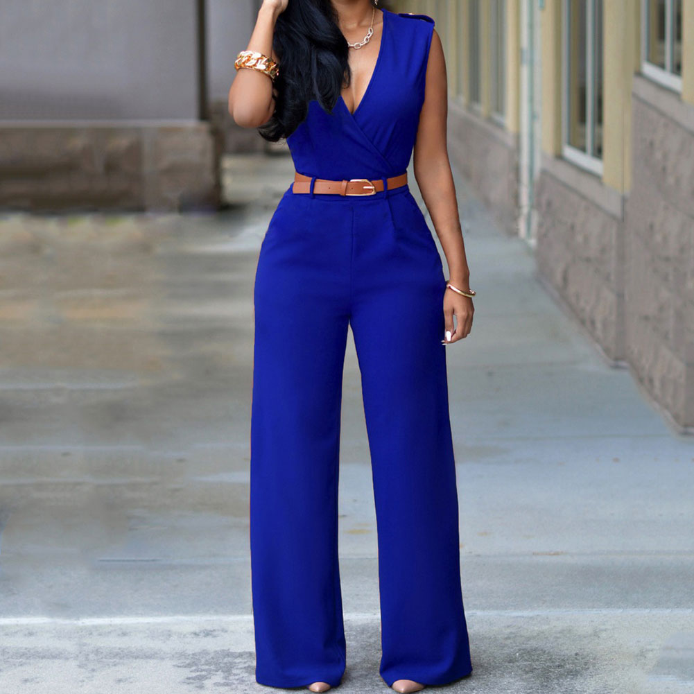 Hot Fashion Summer Women   Jumpsuit   With Belt Sexy V Neck Solid Color Sleeveless High Waist Wide Leg Romper Ladies   Jumpsuits   SMA66