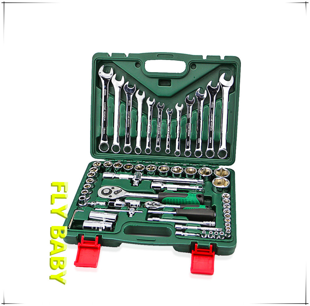 free shipping 61pcs torque socket wrench set with ratchet spanners llave carraca 1/4 hand tool for car kit repair tool key set xkai 14pcs 6 19mm ratchet spanner combination wrench a set of keys ratchet skate tool ratchet handle chrome vanadium