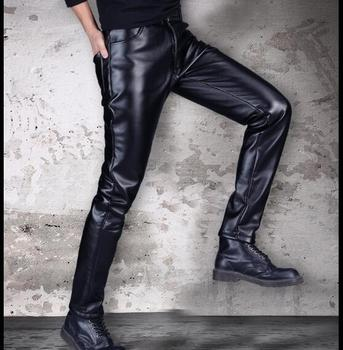 29-40 2017 new men fashion thick leather pants winter Korean Slim tide motorcycle feet Slim leather pants singer costumes